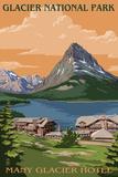 Many Glacier Hotel - Glacier National Park, Montana Plastic Sign by  Lantern Press
