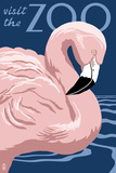 Flamingo - Visit the Zoo Plastic Sign by  Lantern Press
