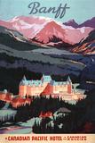 Banff, Alberta, Canada - Overview of the Banff Springs Hotel Poster Plastskilt av  Lantern Press