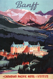 Banff, Alberta, Canada - Overview of the Banff Springs Hotel Poster Plastic Sign by  Lantern Press