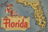 Come to Florida Map of the State, Pin-Up Girl - Florida Plastic Sign by  Lantern Press