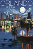 Orlando, Florida - Skyline at Night Plastic Sign by  Lantern Press