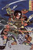 The Samurai Warriors Ichijo Jiro Tadanori and Notonokami Noritsune, Japanese Wood-Cut Print Plastic Sign by  Lantern Press