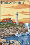 Portland Head Light - Portland, Maine Plastic Sign by  Lantern Press