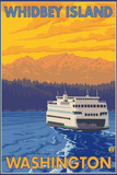 Ferry and Mountains, Whidbey Island, Washington Plastic Sign by  Lantern Press