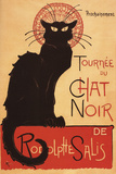 Montmarte, France - Chat Noir Cabaret Troupe Black Cat Promo Poster Plastic Sign by  Lantern Press