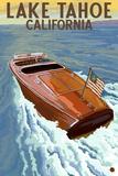 Lake Tahoe, California - Wooden Boat Znaki plastikowe autor Lantern Press