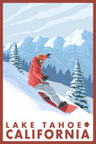 Snowboarder Scene, Lake Tahoe, California Plastic Sign by  Lantern Press