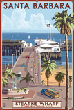 Santa Barbara, California - Stern's Wharf Plastic Sign by  Lantern Press