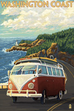 Washington Coast Drive with Lighthouse Plastikschild von  Lantern Press