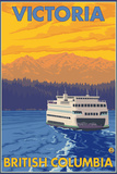 Ferry and Mountains, Victoria, BC Canada Plastic Sign by  Lantern Press