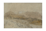 St Gothard and Mont Blanc Sketchbook [Finberg LXXV], Mont Blanc from the Arve Valley Giclee Print by Joseph Mallord William Turner
