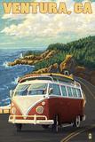 Ventura, California - VW Van Drive Plastic Sign by  Lantern Press