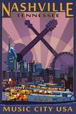 Nashville, Tennessee - Skyline at Night Plastskilt av  Lantern Press