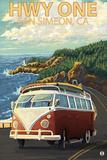San Simeon, CA - VW Van Coastal Drive Plastikschild von  Lantern Press
