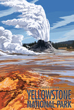 Castle Geyser - Yellowstone National Park Plastic Sign by  Lantern Press
