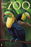 Visit the Zoo, Tucan Scene Plastic Sign by  Lantern Press