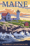 Nubble Lighthouse - York, Maine Plastic Sign by  Lantern Press