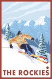 Downhhill Snow Skier, The Rockies Plastic Sign by  Lantern Press