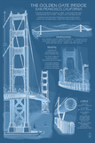 San Francisco, CA, Golden Gate Bridge Technical Blueprint Plastic Sign by  Lantern Press