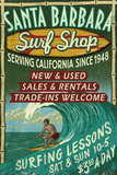 Santa Barbara, California - Surf Shop Plastic Sign by  Lantern Press