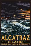 Alcatraz Island Night Scene - San Francisco, CA Plastic Sign by  Lantern Press