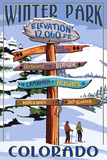 Winter Park, Colorado - Sign Destinations Plastic Sign by  Lantern Press