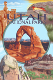 Utah National Parks - Delicate Arch Center Plastic Sign by  Lantern Press
