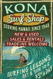 Kona, Hawaii - Surf Shop Plastic Sign by  Lantern Press