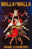 Women Dancing with Wine - Walla Walla, Washington Plastic Sign by  Lantern Press