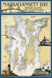 Narragansett Bay, Rhode Island Nautical Chart Plastic Sign by  Lantern Press