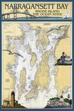 Narragansett Bay, Rhode Island Nautical Chart Plastic Sign by  Lantern Press