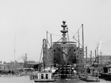 Building a Warship, Cramps I.E. William Cramp Sons Ship and Engine Building Company Shipyard Photo