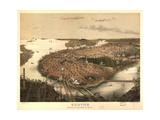 Birds Eye View of Boston - 1877 Posters by  Prang & Company