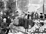 Midwinter Carnival, Childrens Parade, Dog Sleds, Upper Saranac Lake, N.Y. Photo