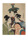 Three Women in Fashionable Hats Poster by Kitagawa Utamaro