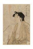 Woman Smoking a Pipe Prints by Kitagawa Utamaro