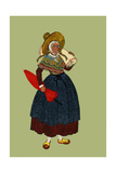 Woman from Voiron Carries an Umbrella and Rug Poster by Elizabeth Whitney Moffat