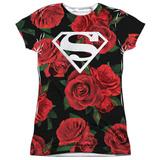 Juniors: Superman- Super Floral Womens Sublimated