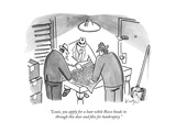 """""""Louie, you apply for a loan while Rocco heads in through this door and fi..."""" - New Yorker Cartoon Premium Giclee Print by Robert Leighton"""