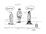 "A white man passes a police officer thinking ""good cop"" as a black man thi... - New Yorker Cartoon Premium Giclee Print by David Sipress"
