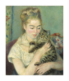 Woman with a Cat, c1875 Premium Giclee Print by Pierre Auguste Renoir