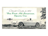 1954 GM Corvette Sports Car Affiche