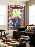 Portland, OR, Bridgetown Collage of Portland Bridges Wall Mural by  Lantern Press