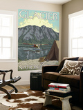 Bush Plane & Fishing, Glacier National Park, Montana Wall Mural by  Lantern Press