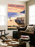 Santa Barbara, California - Woody on Beach Wall Mural by  Lantern Press