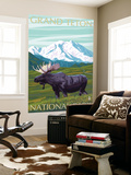 Grand Teton National Park, Wyoming, Moose and Mountains Wall Mural by  Lantern Press