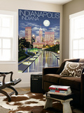 Indianapolis, Indiana - Indianapolis at Night Wall Mural by  Lantern Press