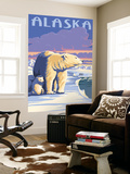 Alaska - Polar Bear at Sunrise Wall Mural by  Lantern Press