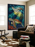 Sea Turtle - Paper Mosaic Wall Mural by  Lantern Press